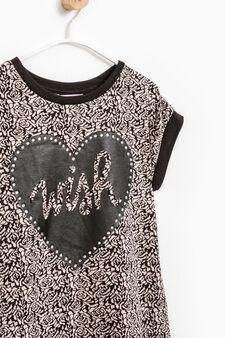 Tulle and diamanté patterned dress, Black, hi-res