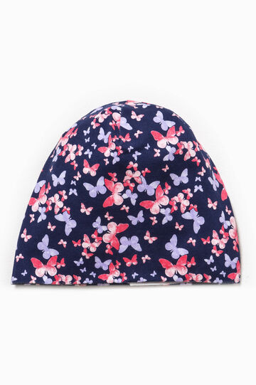 Beanie cap with butterfly pattern, Blue/Pink, hi-res
