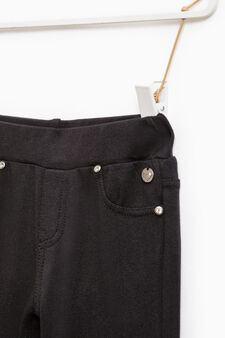 Stretch viscose trousers with sequins, Black, hi-res