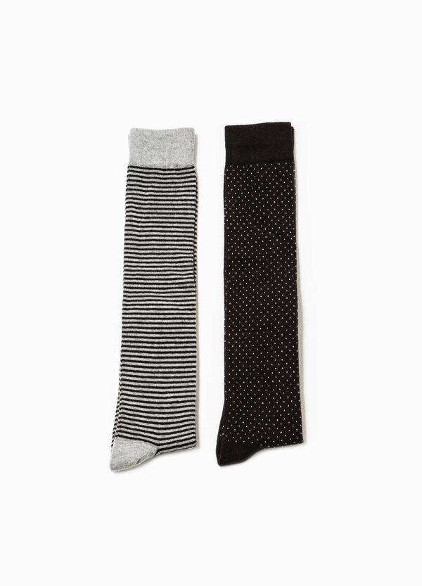 Pack de dos pares de calcetines largos con estampado | OVS
