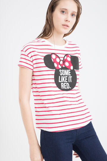 100% cotton T-shirt with Minnie Mouse print, White, hi-res
