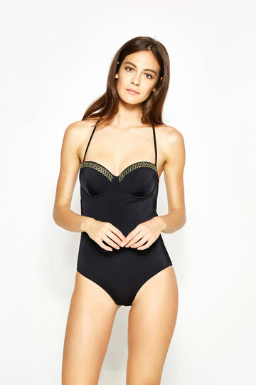 One-piece swimsuit with trim