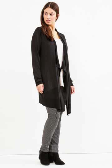 Curvy viscose blend cardigan with lurex, Black, hi-res