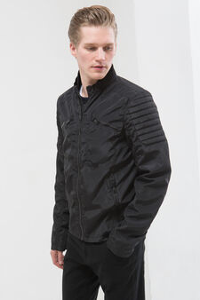 Nylon jacket with high neck, Black, hi-res
