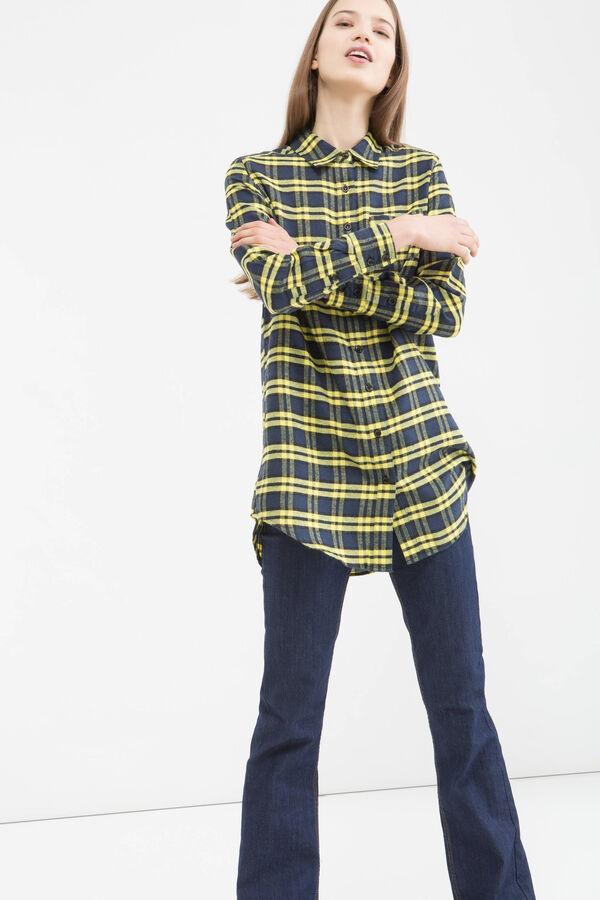 Check cotton blend long shirt   OVS