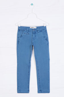 Stretch cotton chinos, Blue, hi-res