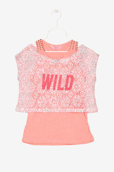 Openwork T-shirt with vest, Salmon, hi-res