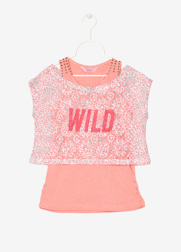 T-shirt traforata con canotta | OVS