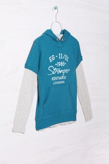 Completo felpa e t-shirt puro cotone, Azzurro/Grigio, hi-res