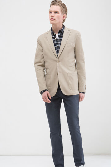 Slim fit, stretch cotton jacket, Beige, hi-res