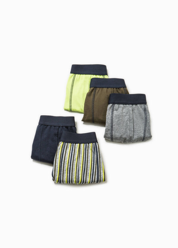 Five-pack solid colour and striped boxers | OVS