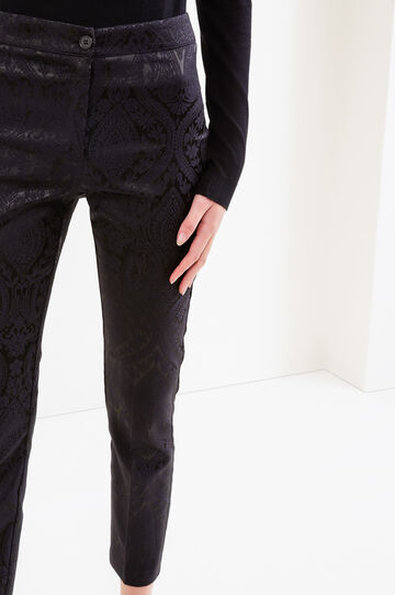 Stretch trousers with paisley pattern, Black, hi-res