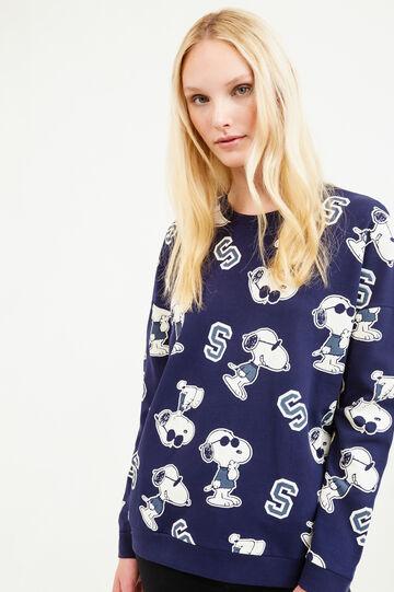 Felpa in cotone fantasia Snoopy, Blu, hi-res
