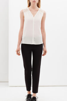 V-neck blouse with lace, White, hi-res