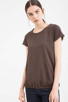100% cotton T-shirt with crew-neck, Chocolate Brown, hi-res