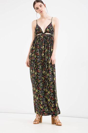 Patterned long dress in 100% viscose, Black, hi-res