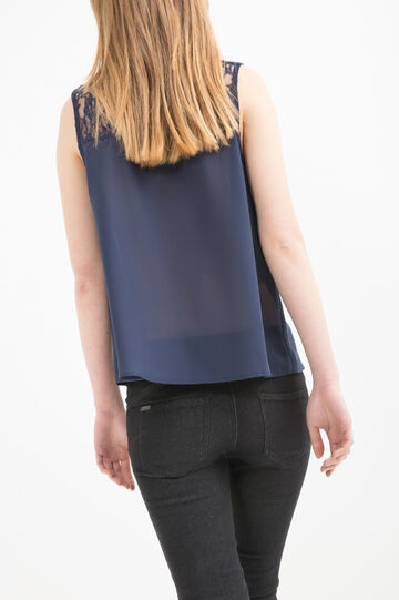 Solid colour top with lace, Blue, hi-res