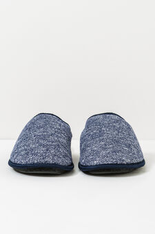 Melange  slippers with contrasting edging, Light Blue, hi-res