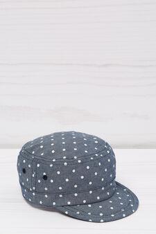 Polka dot cotton baseball cap, Denim, hi-res