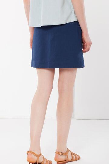 Minigonna in lino con elastico, Blu avio, hi-res