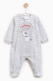 Cotton sleep suit with patch, White/Grey, hi-res