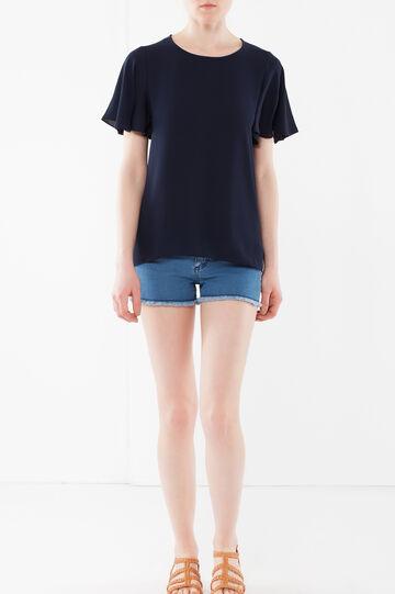 T-shirt con maniche volant, Blu navy, hi-res