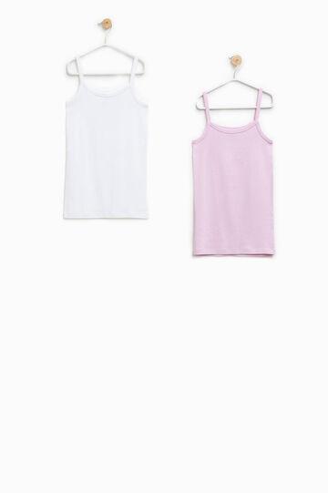 Set due top intimi 100% Biocotton, Bianco/Rosa, hi-res