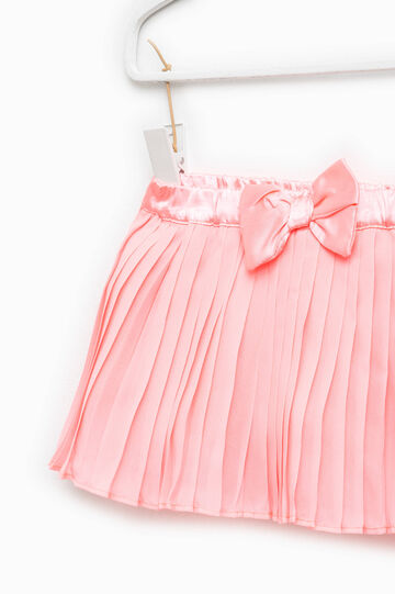Pleated skirt with bow, Peach Orange, hi-res