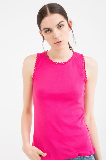 100% cotton top with openwork inserts, Fuchsia, hi-res