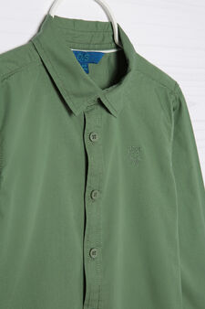 100% cotton shirt with embroidery, Green, hi-res