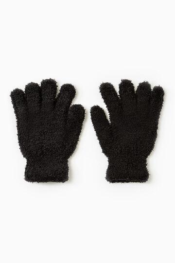 Solid colour cotton gloves, Black, hi-res