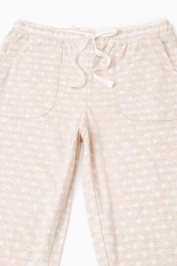 Pantaloni pigiama cotone a pois, Beige, hi-res