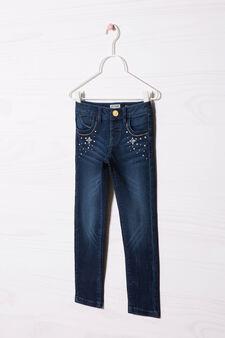 Diamanté jeans with super-skinny fit, Blue, hi-res