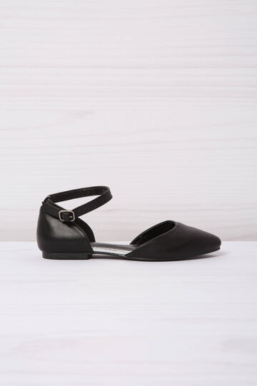 Leather look shoes with strap, Black, hi-res