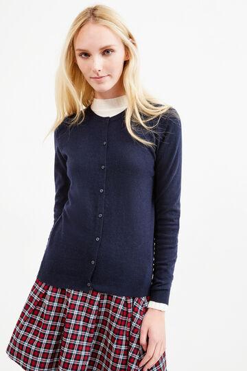 Solid colour wool blend cardigan, Blue, hi-res