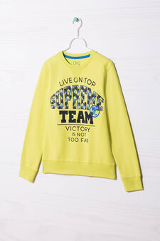 100% cotton sweatshirt with printed lettering, Lime Green, hi-res