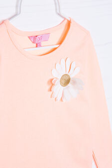 Stretch cotton T-shirt with flower on chest, Neon Orange, hi-res