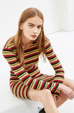Stretch ribbed dress with striped pattern, Multicolour, hi-res