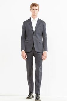 Elegant slim-fit wool and linen suit, Dark Grey, hi-res