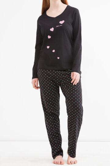 Curvy cotton pyjama top with heart print, Black, hi-res