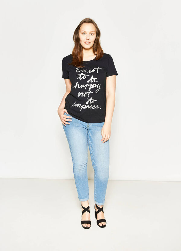 Curvy T-shirt with print and studs | OVS