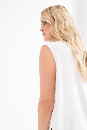 Cotton and linen Curvy blouse, Cream White, hi-res