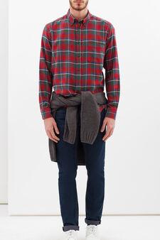 Camicia a quadri in puro cotone, Verde/Rosso, hi-res
