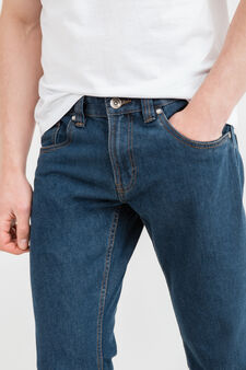 Straight-fit jeans with contrasting seams, Dark Wash, hi-res