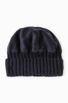 Cappello a cuffia pile e tricot, Blu navy, hi-res