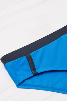 Stretch swimming trunks with contrasting waistband, Soft Blue, hi-res