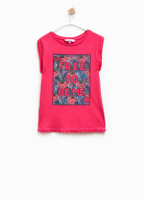 Fringed T-shirt with print | OVS