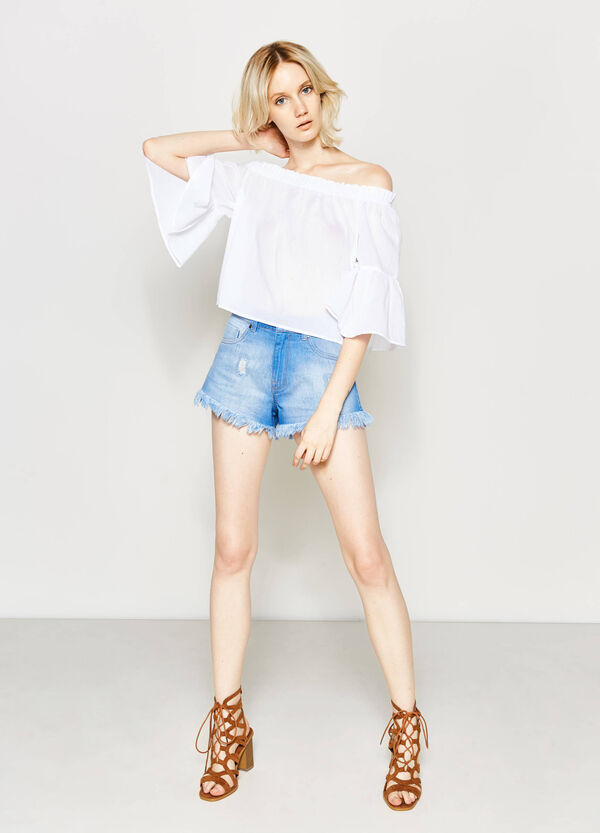 High-waist denim shorts | OVS