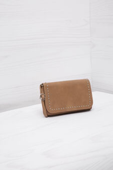 Leather look clutch bag with studs, Light Brown, hi-res