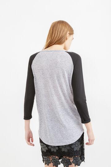 T-shirt in misto lino maniche raglan, Grigio melange, hi-res